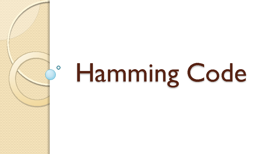 Implementation of Hamming Code
